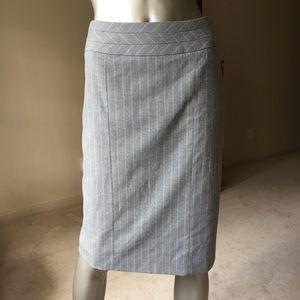 Grey White Pinstriped Pencil Skirt